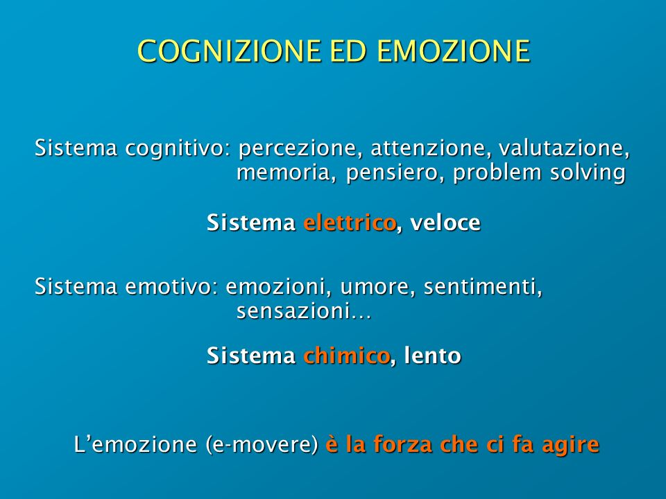 COGNIZIONE ED EMOZIONE Sistema cognitivo: percezione, attenzione, valutazione, memoria, pensiero, problem solving Sistema elettrico, veloce Sistema em
