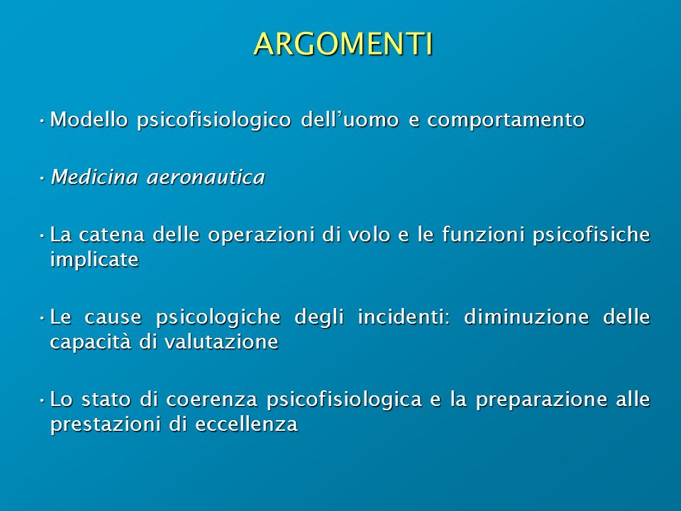 LE CAUSE DEGLI INCIDENTI INCIDENT = ACCIDENT = 50% MOTORI METEO … 25% ATC 25% PILOTI 90% UOMO 10% IMPREVEDIB.