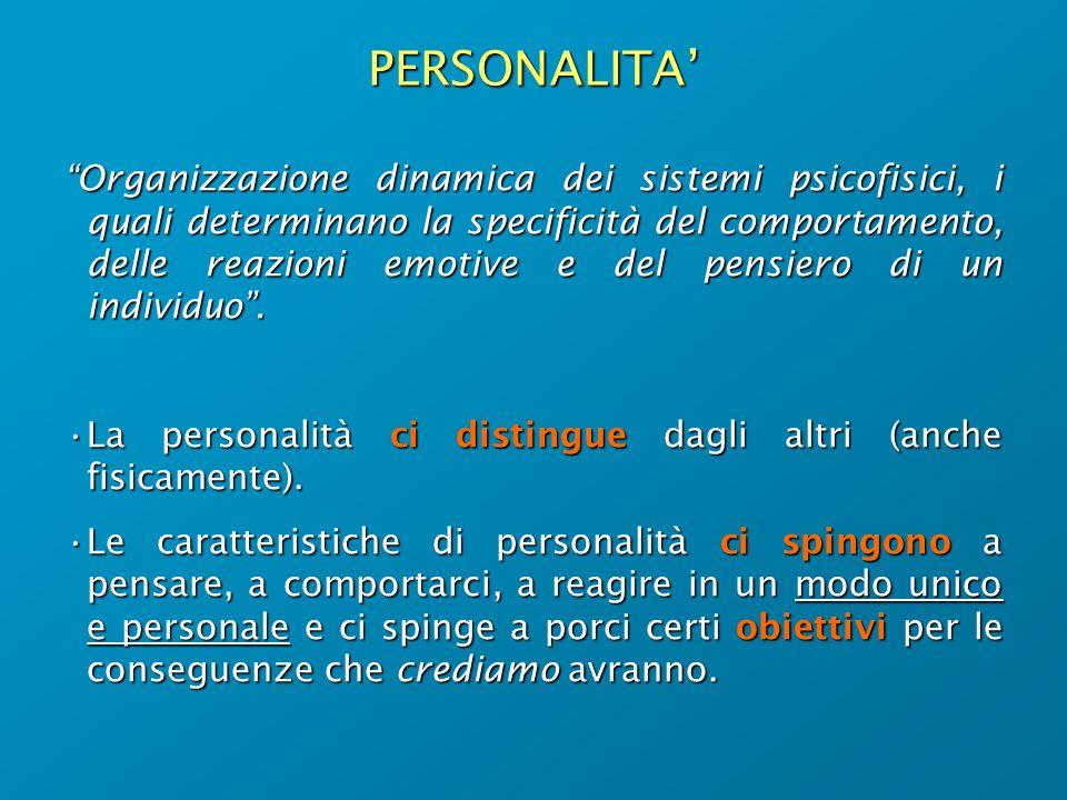 PERSONALITA Organizzazione dinamica dei sistemi psicofisici, i quali determinano la specificità del comportamento, delle reazioni emotive e del pensie