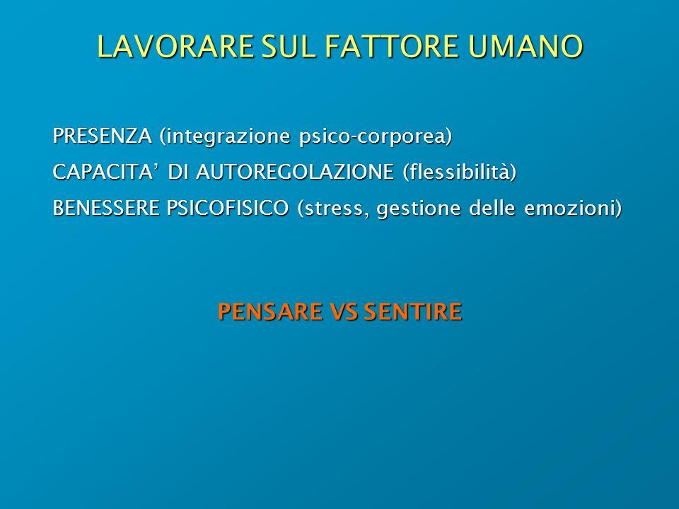 LAVORARE SUL FATTORE UMANO PRESENZA (integrazione psico-corporea) CAPACITA DI AUTOREGOLAZIONE (flessibilità) BENESSERE PSICOFISICO (stress, gestione d