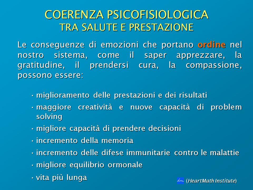 COERENZA PSICOFISIOLOGICA TRA SALUTE E PRESTAZIONE (HeartMath Institute) Le conseguenze di emozioni che portano ordine nel nostro sistema, come il sap