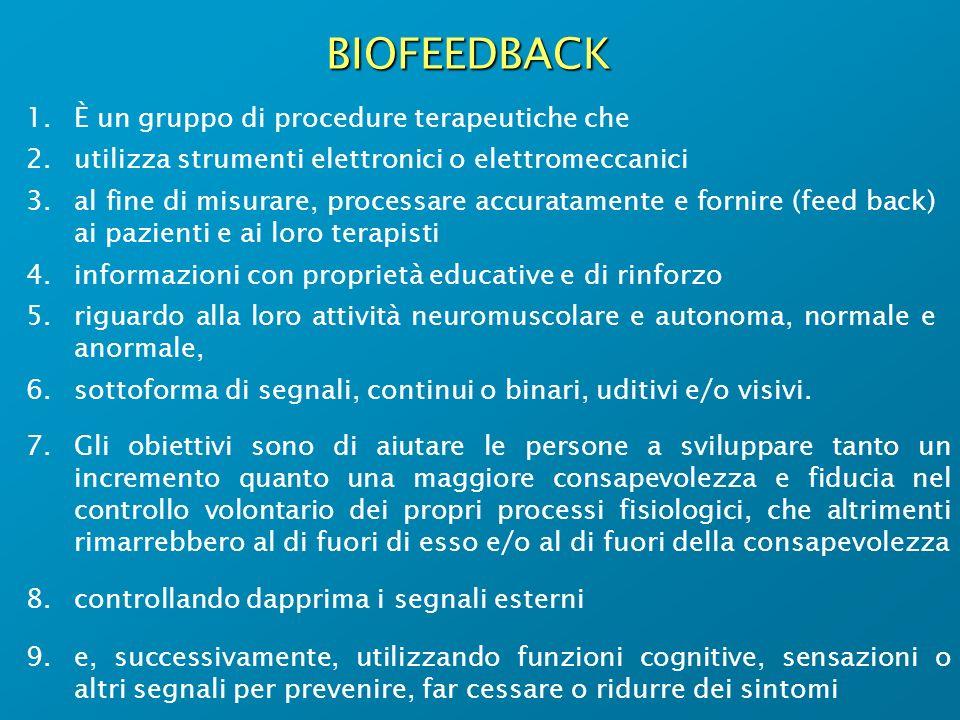 BIOFEEDBACK 1.È un gruppo di procedure terapeutiche che 2.utilizza strumenti elettronici o elettromeccanici 3.al fine di misurare, processare accurata