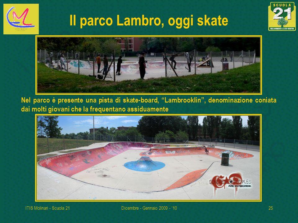 ITIS Molinari - Scuola 21Dicembre - Gennaio 2009 - '1025 Il parco Lambro, oggi skate Nel parco è presente una pista di skate-board, Lambrooklin, denom