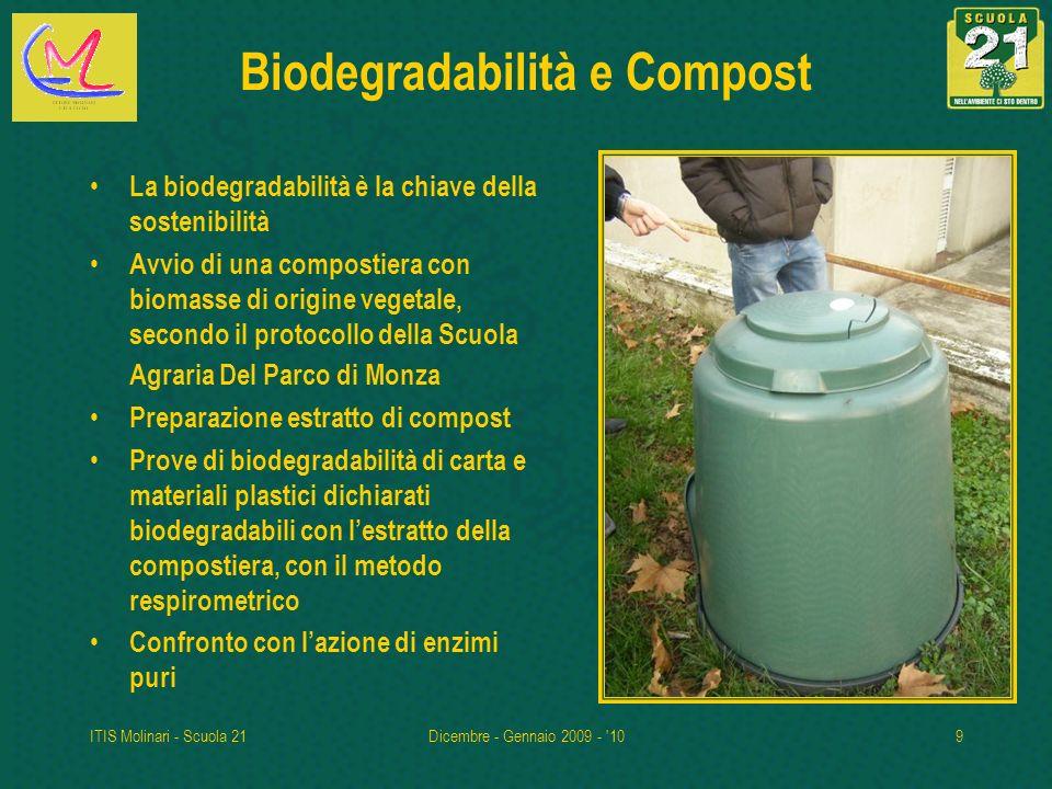 ITIS Molinari - Scuola 21Dicembre - Gennaio 2009 - '109 Biodegradabilità e Compost La biodegradabilità è la chiave della sostenibilità Avvio di una co