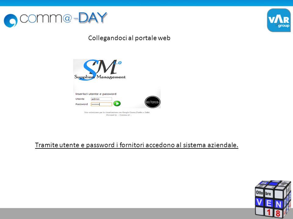Tramite utente e password i fornitori accedono al sistema aziendale. Collegandoci al portale web