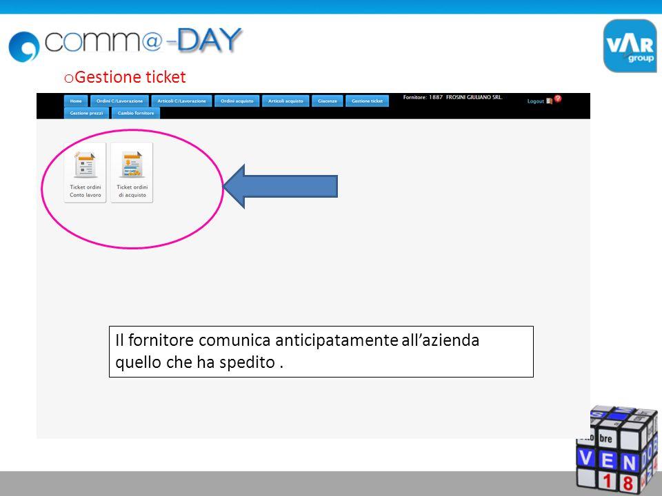 o Gestione ticket Il fornitore comunica anticipatamente allazienda quello che ha spedito.
