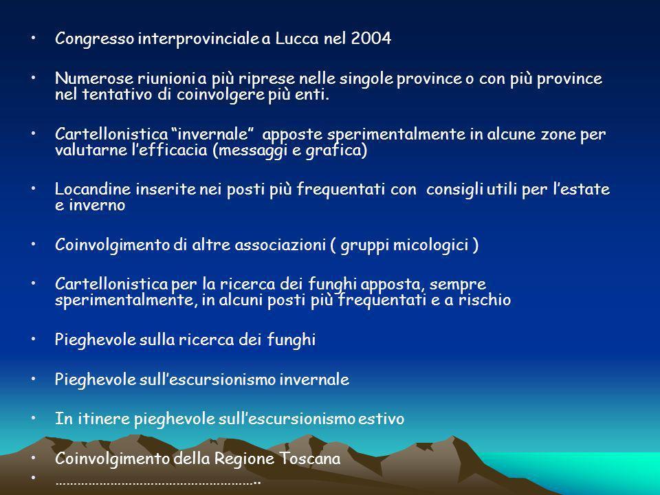 Congresso interprovinciale a Lucca nel 2004 Numerose riunioni a più riprese nelle singole province o con più province nel tentativo di coinvolgere più enti.