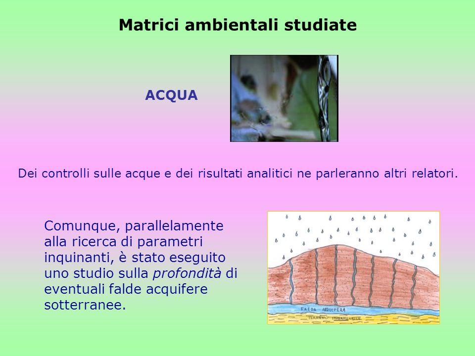 Matrici ambientali studiate Dei controlli sulle acque e dei risultati analitici ne parleranno altri relatori. ACQUA Comunque, parallelamente alla rice
