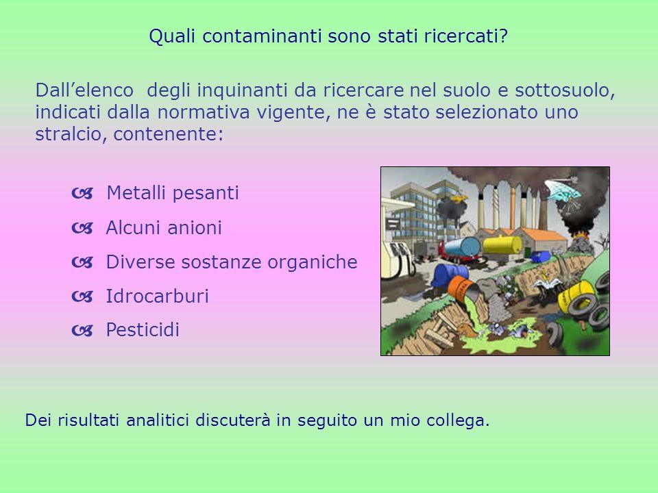Quali contaminanti sono stati ricercati? Metalli pesanti Alcuni anioni Diverse sostanze organiche Idrocarburi Pesticidi Dallelenco degli inquinanti da
