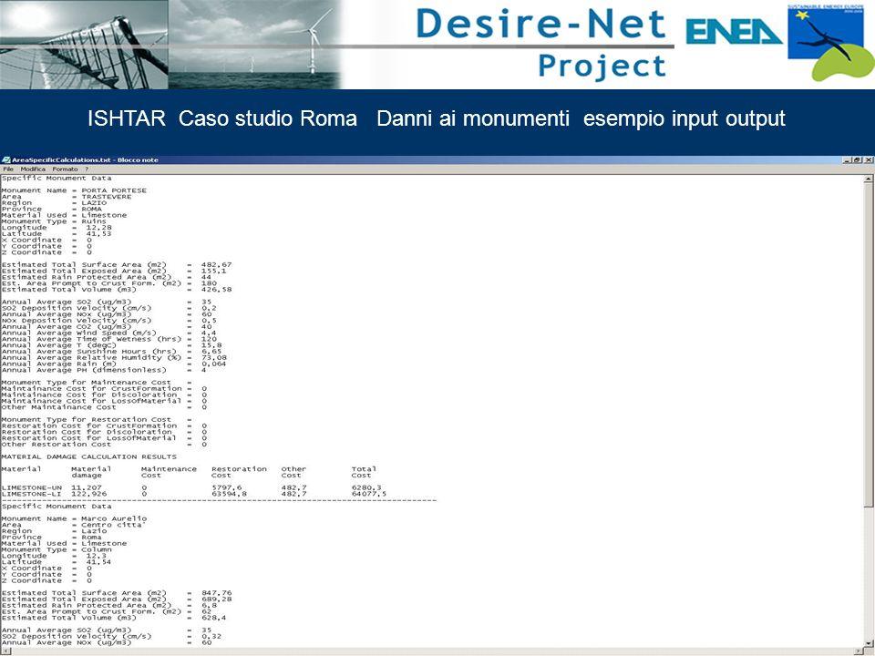 51 Impatti dei Sistemi di Trasporto e Pianificazione Integrata ISHTAR Caso studio Roma Danni ai monumenti esempio input output