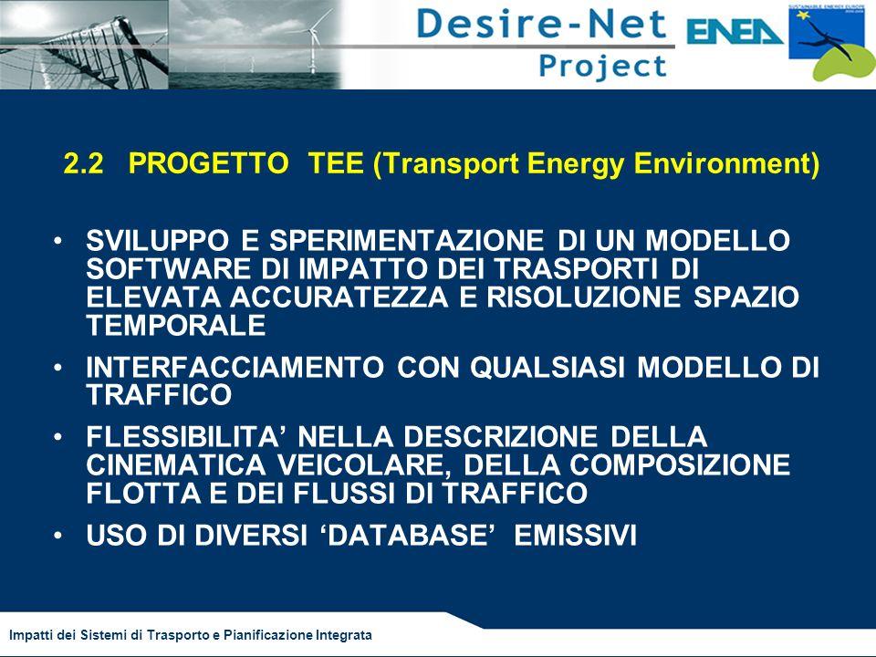 Impatti dei Sistemi di Trasporto e Pianificazione Integrata 2.2 PROGETTO TEE (Transport Energy Environment) SVILUPPO E SPERIMENTAZIONE DI UN MODELLO SOFTWARE DI IMPATTO DEI TRASPORTI DI ELEVATA ACCURATEZZA E RISOLUZIONE SPAZIO TEMPORALE INTERFACCIAMENTO CON QUALSIASI MODELLO DI TRAFFICO FLESSIBILITA NELLA DESCRIZIONE DELLA CINEMATICA VEICOLARE, DELLA COMPOSIZIONE FLOTTA E DEI FLUSSI DI TRAFFICO USO DI DIVERSI DATABASE EMISSIVI