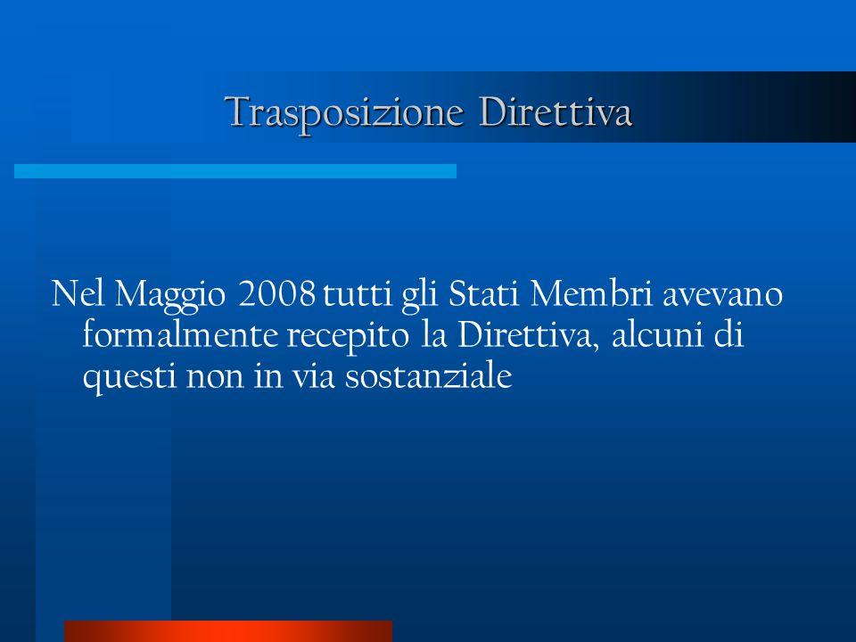 Trasposizione Direttiva Nel Maggio 2008 tutti gli Stati Membri avevano formalmente recepito la Direttiva, alcuni di questi non in via sostanziale
