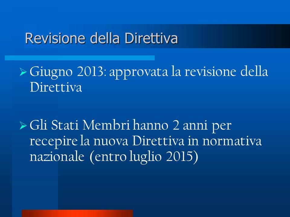 Giugno 2013: approvata la revisione della Direttiva Gli Stati Membri hanno 2 anni per recepire la nuova Direttiva in normativa nazionale (entro luglio 2015) Revisione della Direttiva
