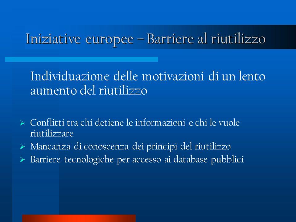 Iniziative europee – Barriere al riutilizzo Individuazione delle motivazioni di un lento aumento del riutilizzo Conflitti tra chi detiene le informazioni e chi le vuole riutilizzare Mancanza di conoscenza dei principi del riutilizzo Barriere tecnologiche per accesso ai database pubblici