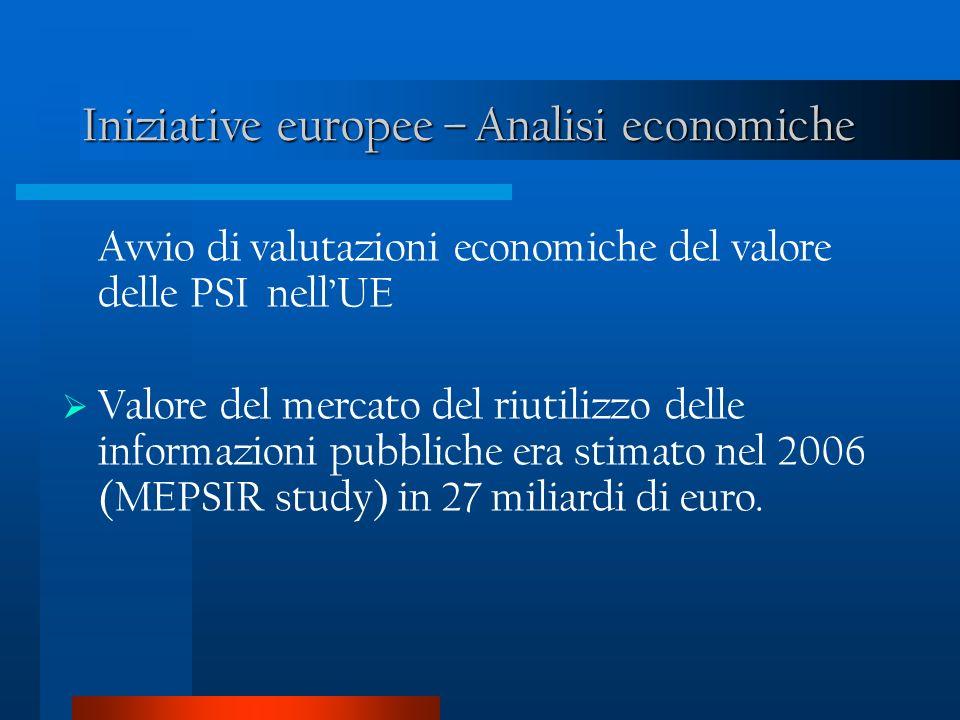 Iniziative europee – Analisi economiche Avvio di valutazioni economiche del valore delle PSI nellUE Valore del mercato del riutilizzo delle informazioni pubbliche era stimato nel 2006 (MEPSIR study) in 27 miliardi di euro.