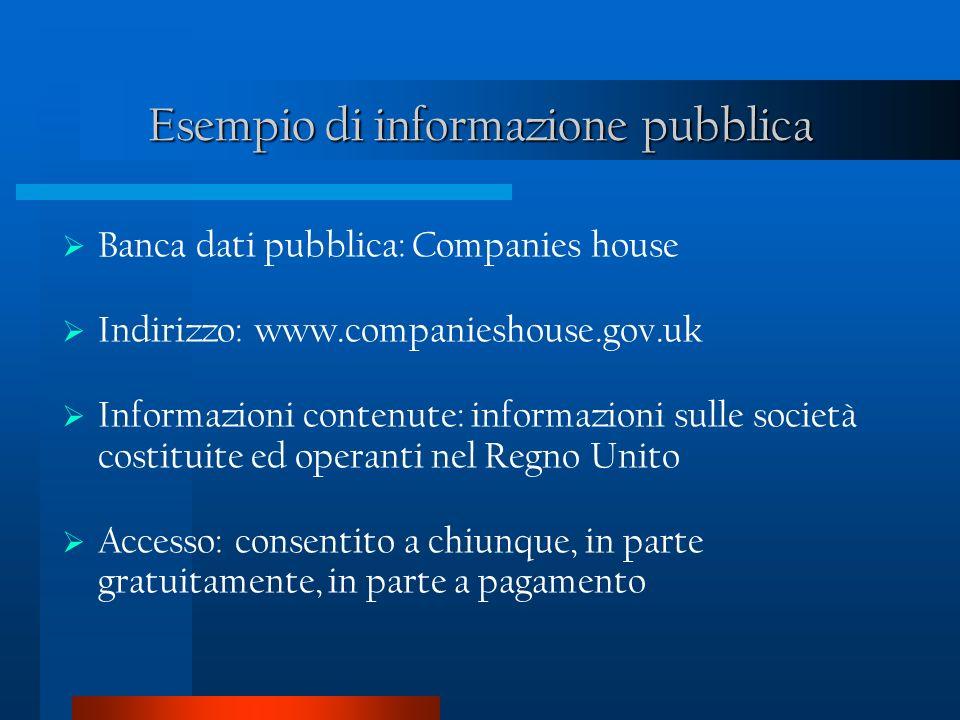 Esempio di informazione pubblica Banca dati pubblica: Companies house Indirizzo: www.companieshouse.gov.uk Informazioni contenute: informazioni sulle società costituite ed operanti nel Regno Unito Accesso: consentito a chiunque, in parte gratuitamente, in parte a pagamento