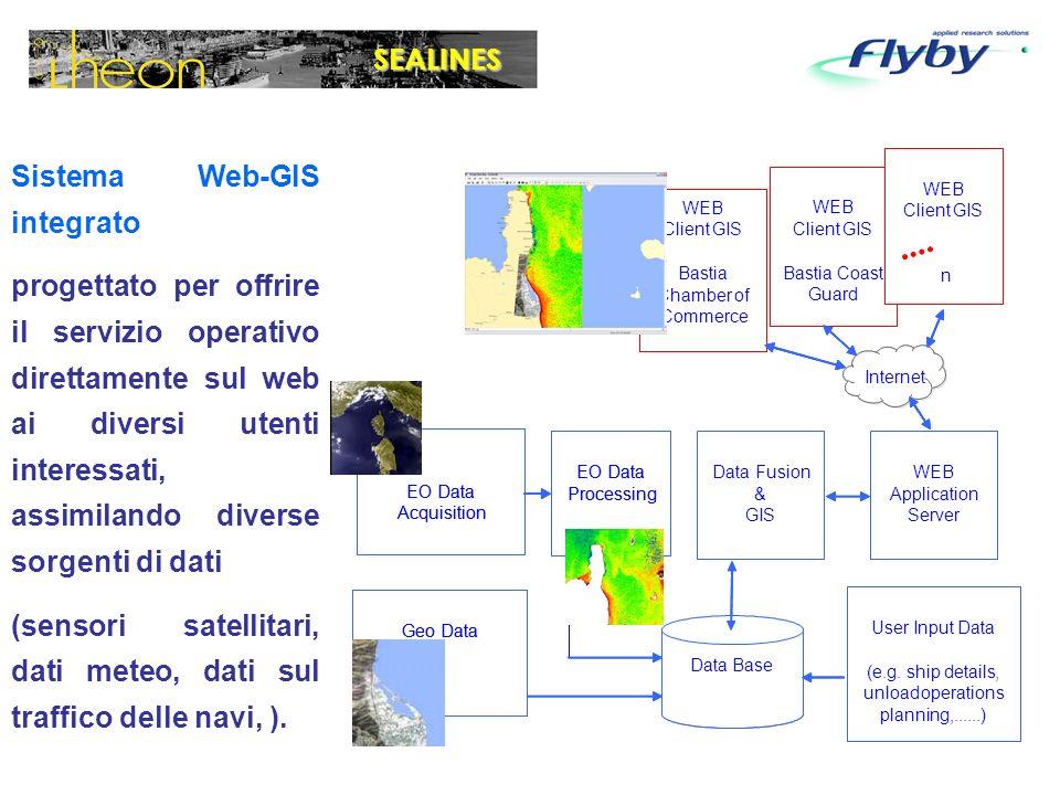 Sistema Web-GIS integrato progettato per offrire il servizio operativo direttamente sul web ai diversi utenti interessati, assimilando diverse sorgenti di dati (sensori satellitari, dati meteo, dati sul traffico delle navi, ).