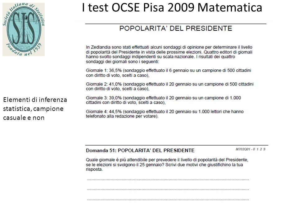 I test OCSE Pisa 2009 Matematica Elementi di inferenza statistica, campione casuale e non
