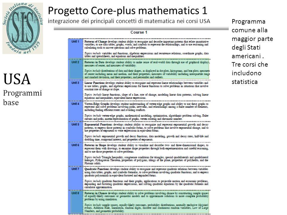 Progetto Core-plus mathematics 1 integrazione dei principali concetti di matematica nei corsi USA USA Programmi base Programma comune alla maggior parte degli Stati americani.