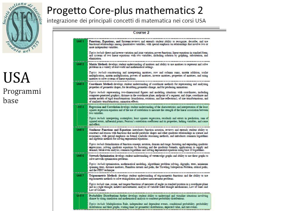Progetto Core-plus mathematics 2 integrazione dei principali concetti di matematica nei corsi USA USA Programmi base