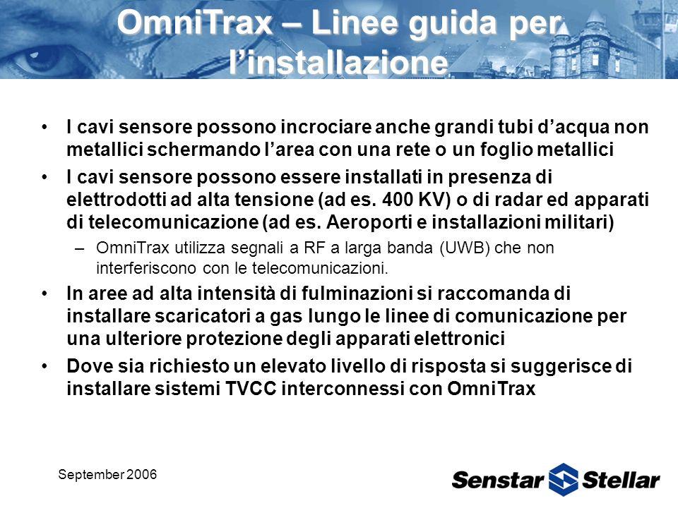 September 2006 OmniTrax – Linee guida per linstallazione I cavi sensore possono incrociare anche grandi tubi dacqua non metallici schermando larea con una rete o un foglio metallici I cavi sensore possono essere installati in presenza di elettrodotti ad alta tensione (ad es.