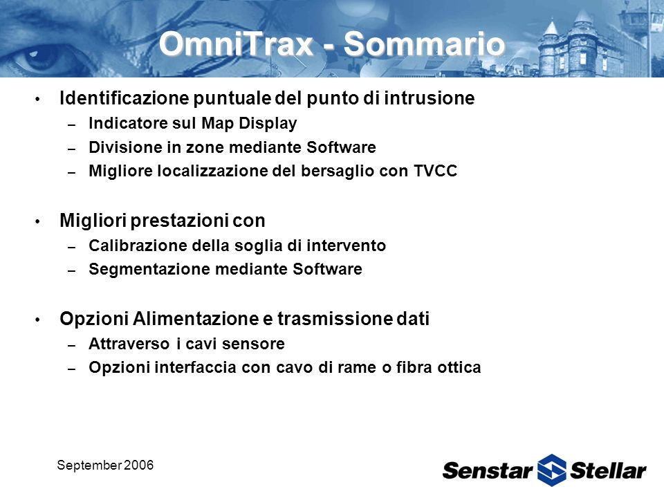 September 2006 OmniTrax - Sommario Identificazione puntuale del punto di intrusione – Indicatore sul Map Display – Divisione in zone mediante Software