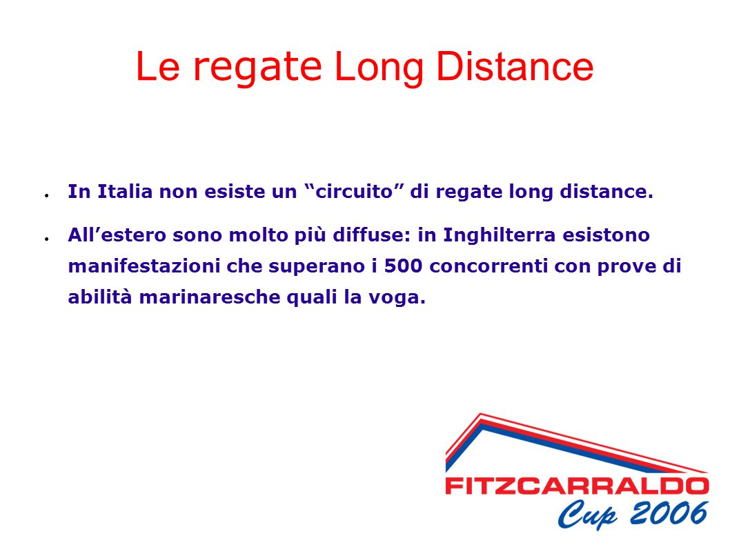 Le regate Long Distance In Italia non esiste un circuito di regate long distance.