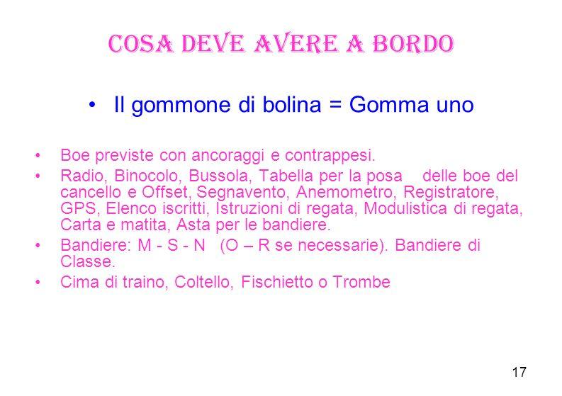 17 Cosa deve avere a bordo Il gommone di bolina = Gomma uno Boe previste con ancoraggi e contrappesi.