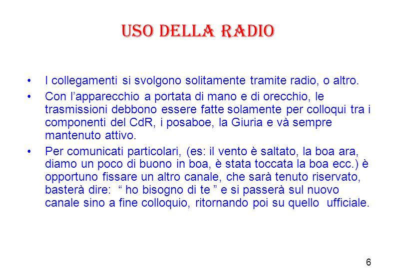 6 Uso della Radio I collegamenti si svolgono solitamente tramite radio, o altro.