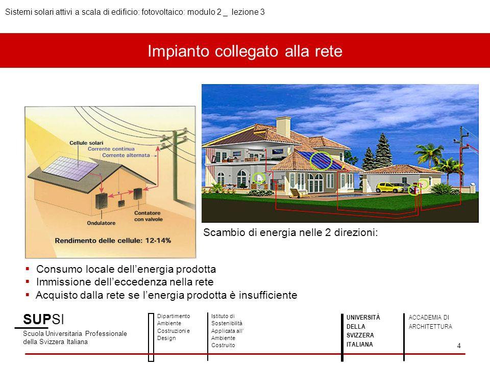 Impianto collegato alla rete Scambio di energia nelle 2 direzioni: Consumo locale dellenergia prodotta Immissione delleccedenza nella rete Acquisto da
