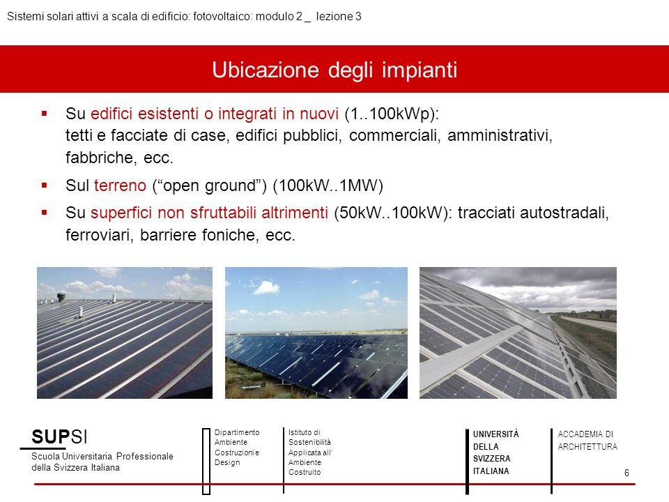 Ubicazione degli impianti Su edifici esistenti o integrati in nuovi (1..100kWp): tetti e facciate di case, edifici pubblici, commerciali, amministrati