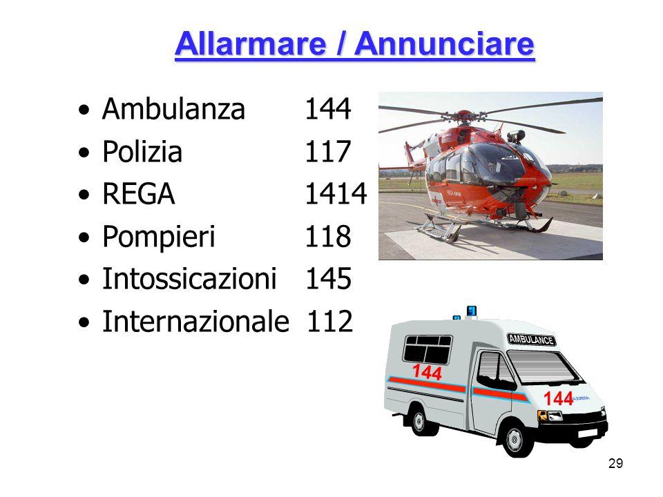 29 Allarmare / Annunciare Ambulanza 144 Polizia 117 REGA 1414 Pompieri 118 Intossicazioni 145 Internazionale 112 144