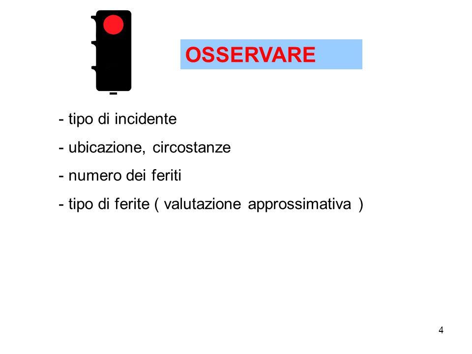 4 OSSERVARE - tipo di incidente - ubicazione, circostanze - numero dei feriti - tipo di ferite ( valutazione approssimativa )
