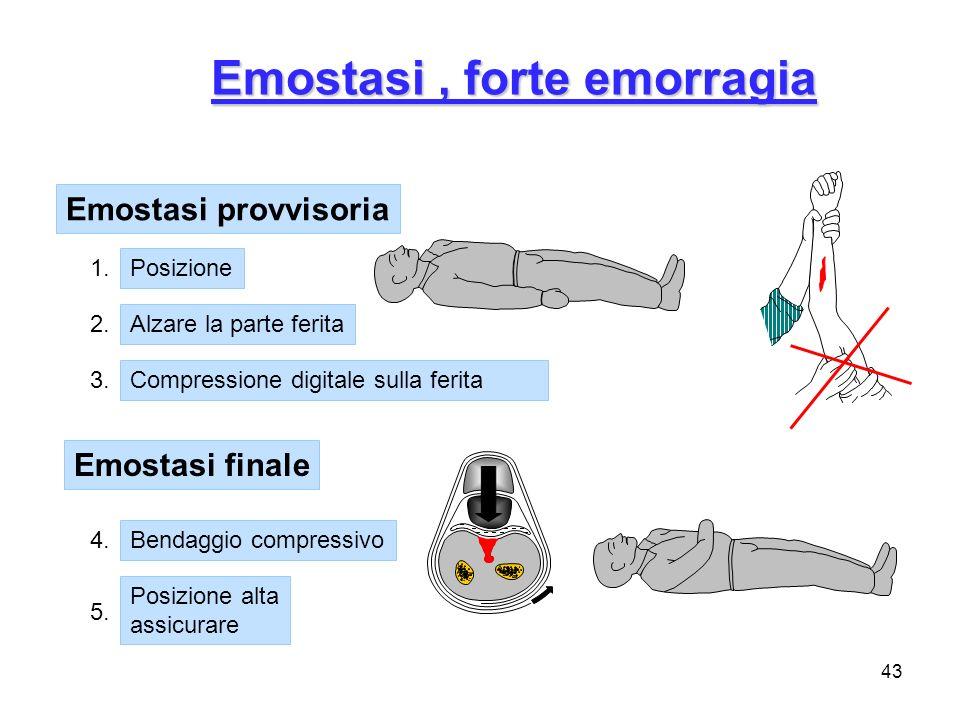 43 Emostasi, forte emorragia Emostasi provvisoria Posizione Alzare la parte ferita Compressione digitale sulla ferita Emostasi finale Bendaggio compre