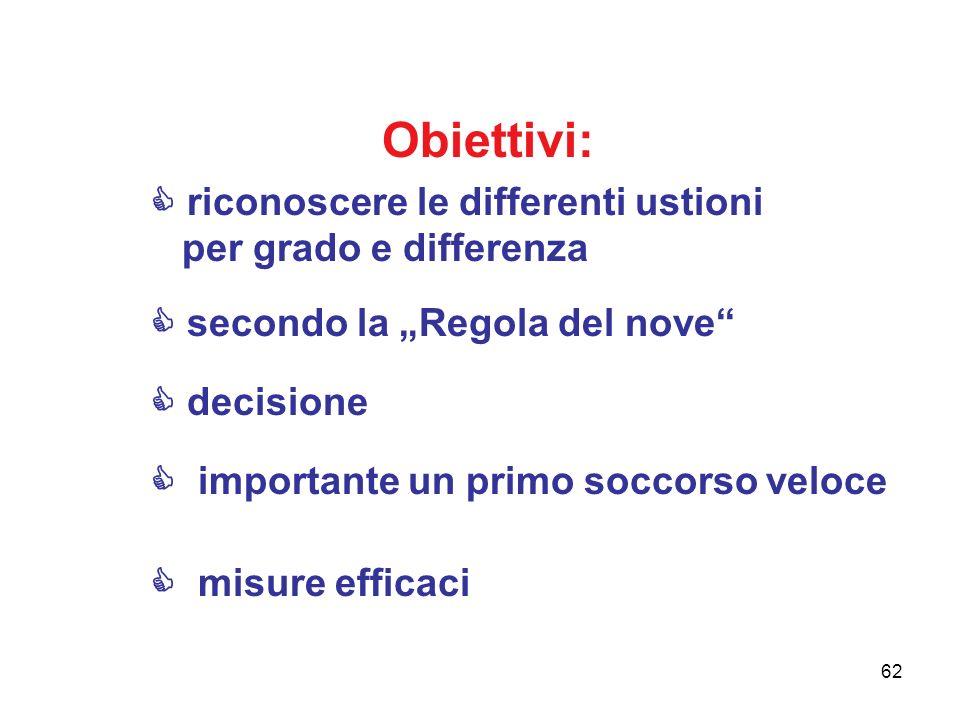 62 Obiettivi: riconoscere le differenti ustioni per grado e differenza secondo la Regola del nove decisione importante un primo soccorso veloce misure