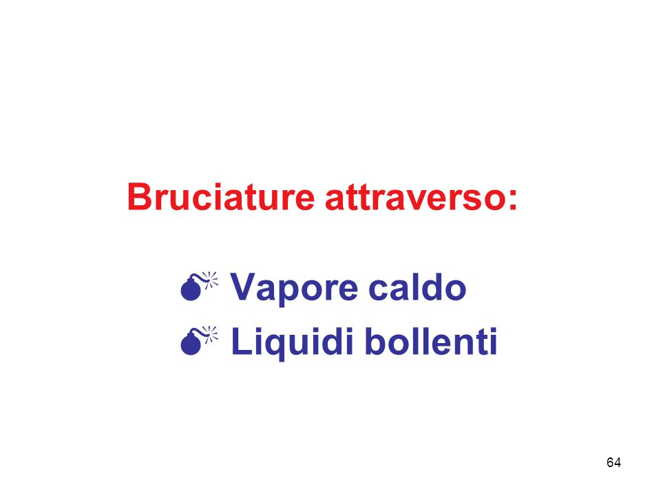 64 Bruciature attraverso: Vapore caldo Liquidi bollenti