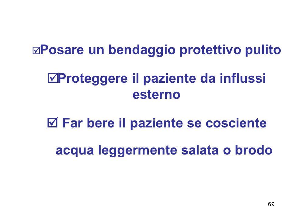 69 Posare un bendaggio protettivo pulito Proteggere il paziente da influssi esterno Far bere il paziente se cosciente acqua leggermente salata o brodo
