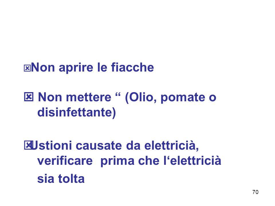 70 Non aprire le fiacche Non mettere (Olio, pomate o disinfettante) Ustioni causate da elettricià, verificare prima che lelettricià sia tolta