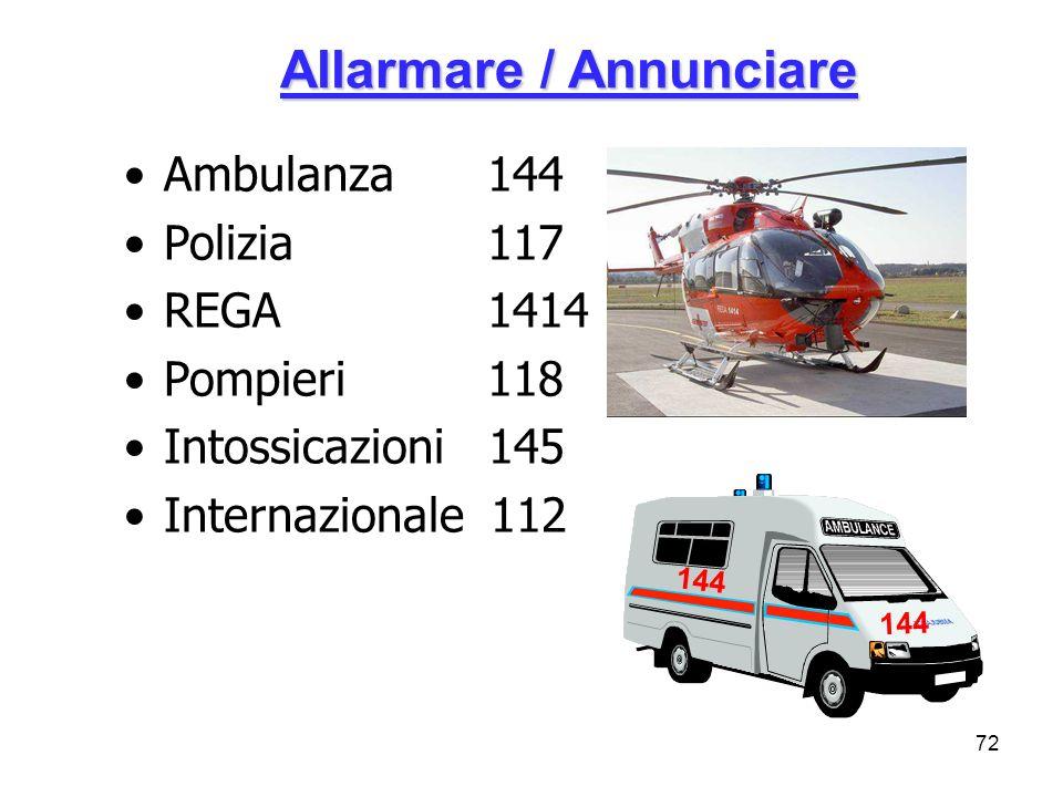 72 Allarmare / Annunciare Ambulanza 144 Polizia 117 REGA 1414 Pompieri 118 Intossicazioni 145 Internazionale 112 144