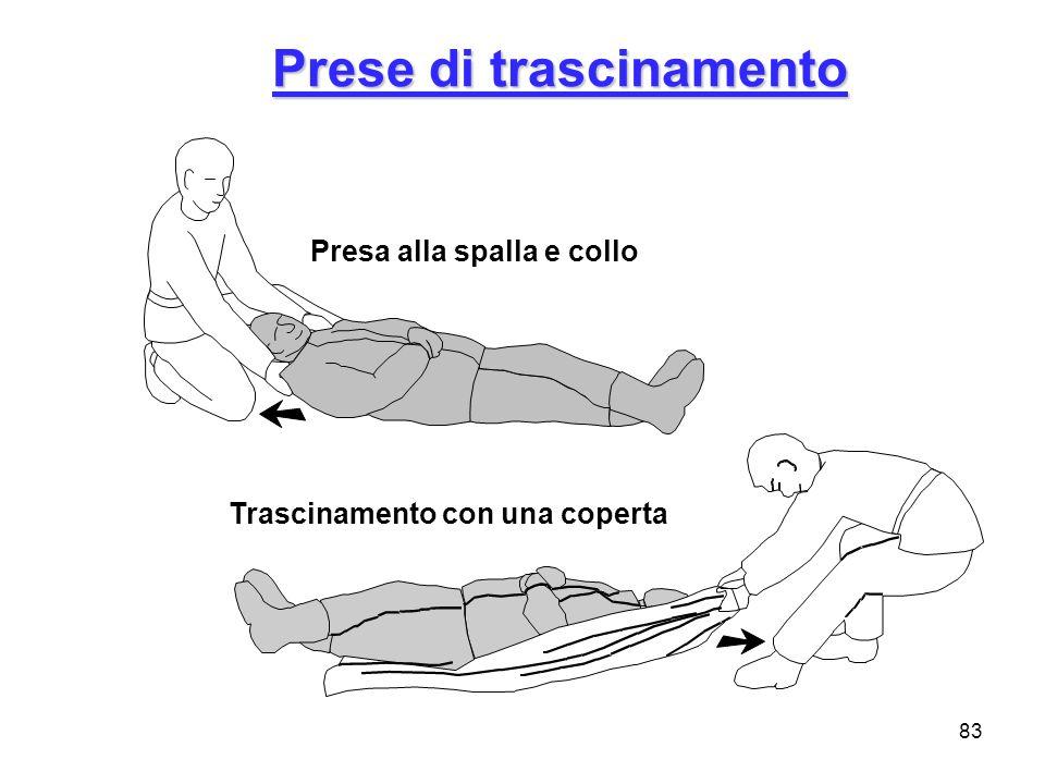 83 Prese di trascinamento Presa alla spalla e collo Trascinamento con una coperta