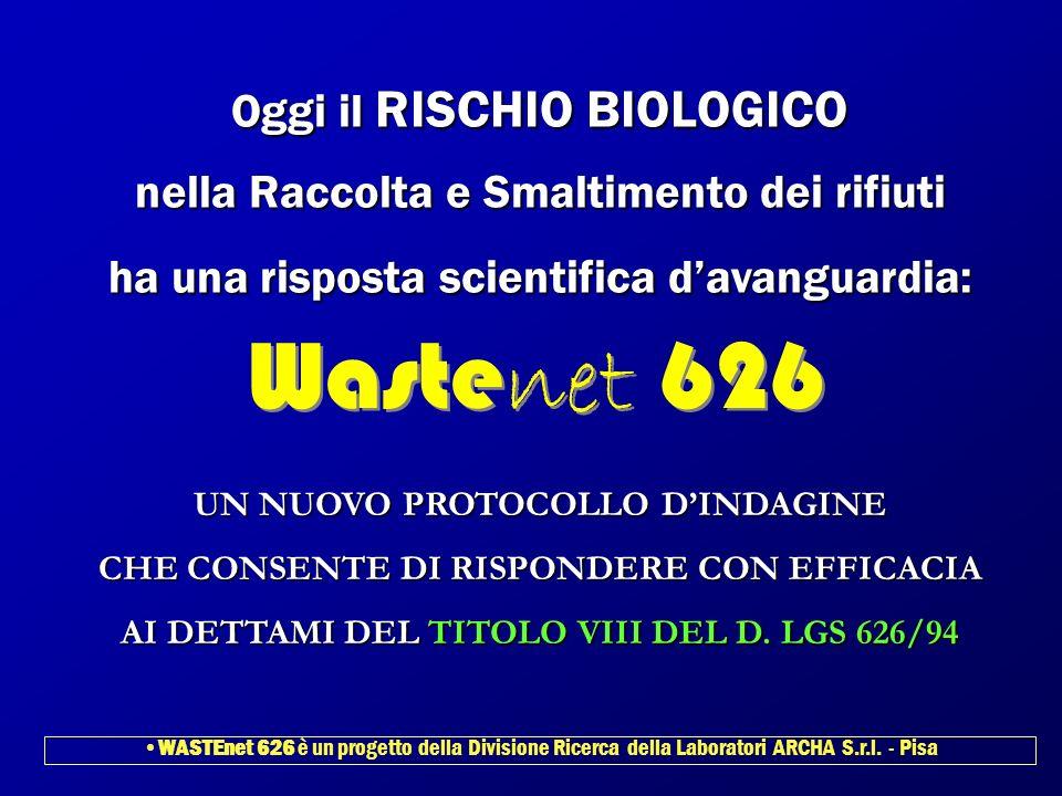 Oggi il RISCHIO BIOLOGICO nella Raccolta e Smaltimento dei rifiuti ha una risposta scientifica davanguardia: Waste net 626 UN NUOVO PROTOCOLLO DINDAGI