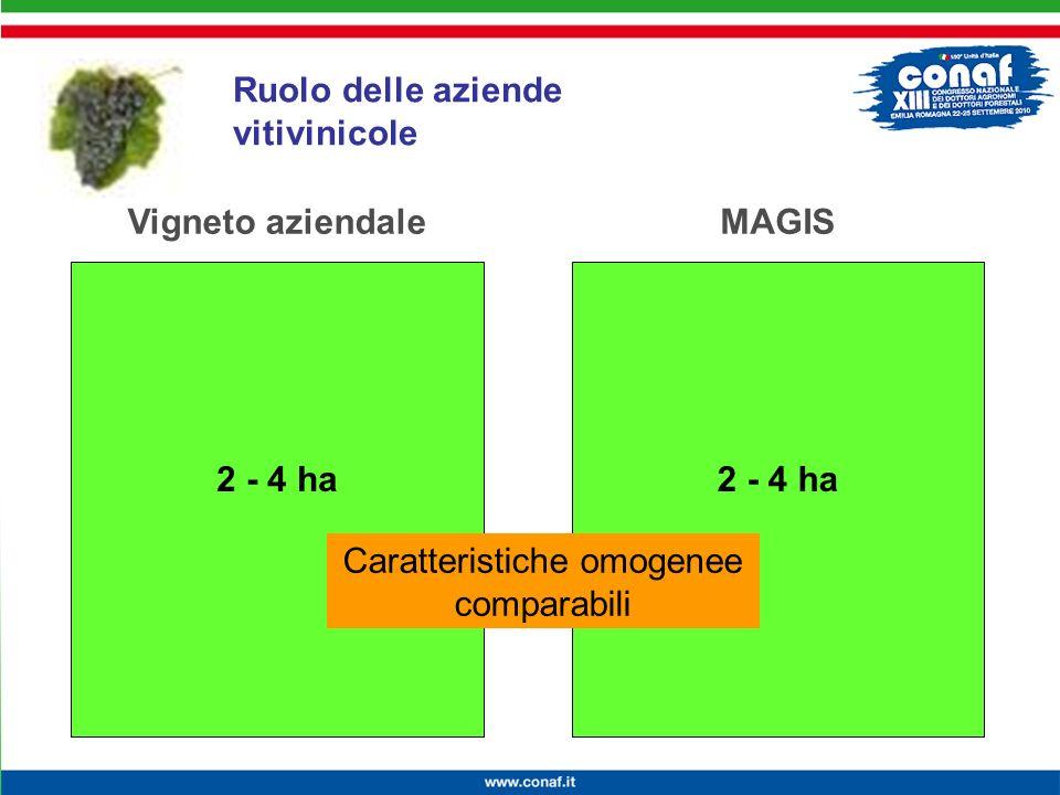 Innovazione continua per la competitività, lambiente e la salute MAGIS – Incontro di Formazione 2 - 4 ha Vigneto aziendaleMAGIS 2 - 4 ha Caratteristic