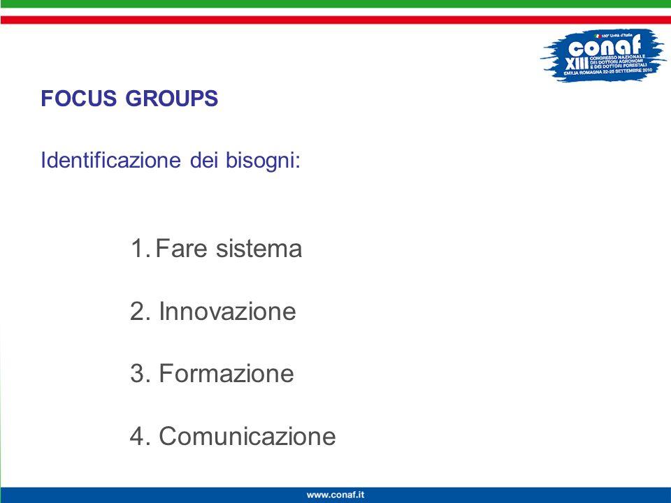 Innovazione continua per la competitività, lambiente e la salute Identificazione dei bisogni: FOCUS GROUPS 1.Fare sistema 2.