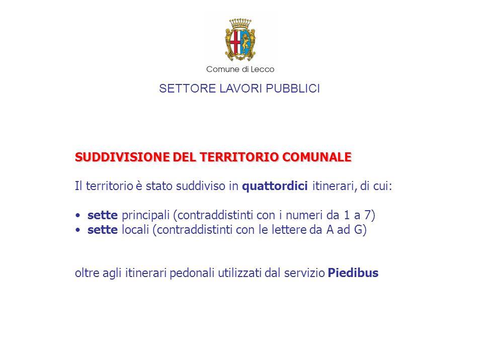 SETTORE LAVORI PUBBLICI SUDDIVISIONE DEL TERRITORIO COMUNALE Il territorio è stato suddiviso in quattordici itinerari, di cui: sette principali (contr