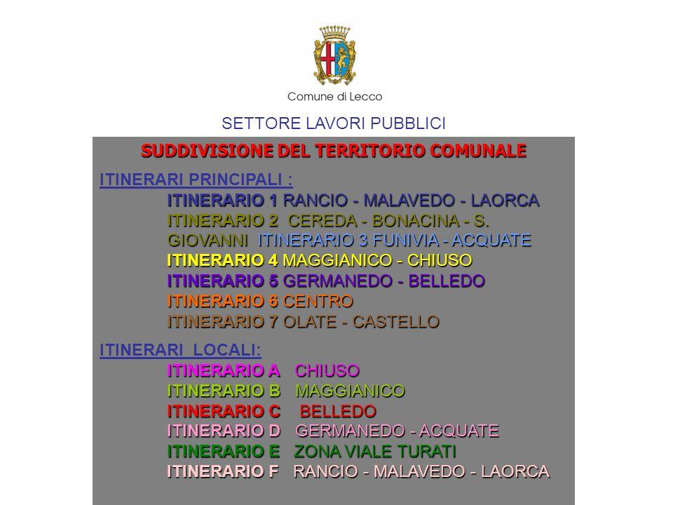 SETTORE LAVORI PUBBLICI SUDDIVISIONE DEL TERRITORIO COMUNALE ITINERARI PRINCIPALI : ITINERARIO 1 RANCIO - MALAVEDO - LAORCA ITINERARIO 2 CEREDA - BONA