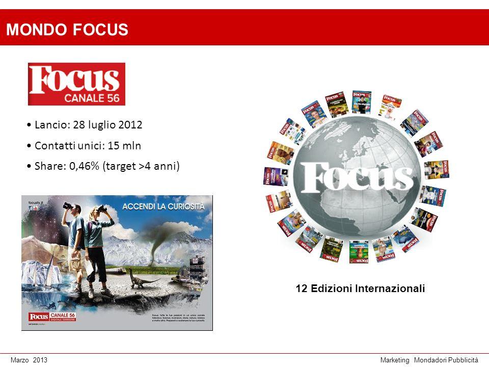 Marketing Mondadori PubblicitàMarzo 2013 Lancio: 28 luglio 2012 Contatti unici: 15 mln Share: 0,46% (target >4 anni) MONDO FOCUS 12 Edizioni Internazi