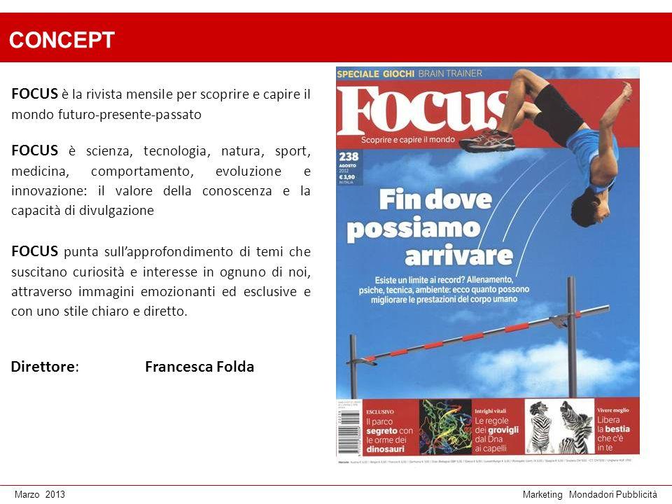 Marketing Mondadori PubblicitàMarzo 2013 CONCEPT FOCUS è la rivista mensile per scoprire e capire il mondo futuro-presente-passato FOCUS è scienza, te