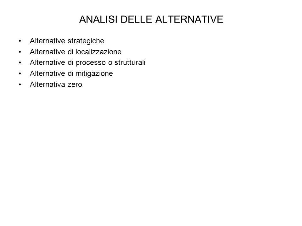 ANALISI DELLE ALTERNATIVE Alternative strategiche Alternative di localizzazione Alternative di processo o strutturali Alternative di mitigazione Alter