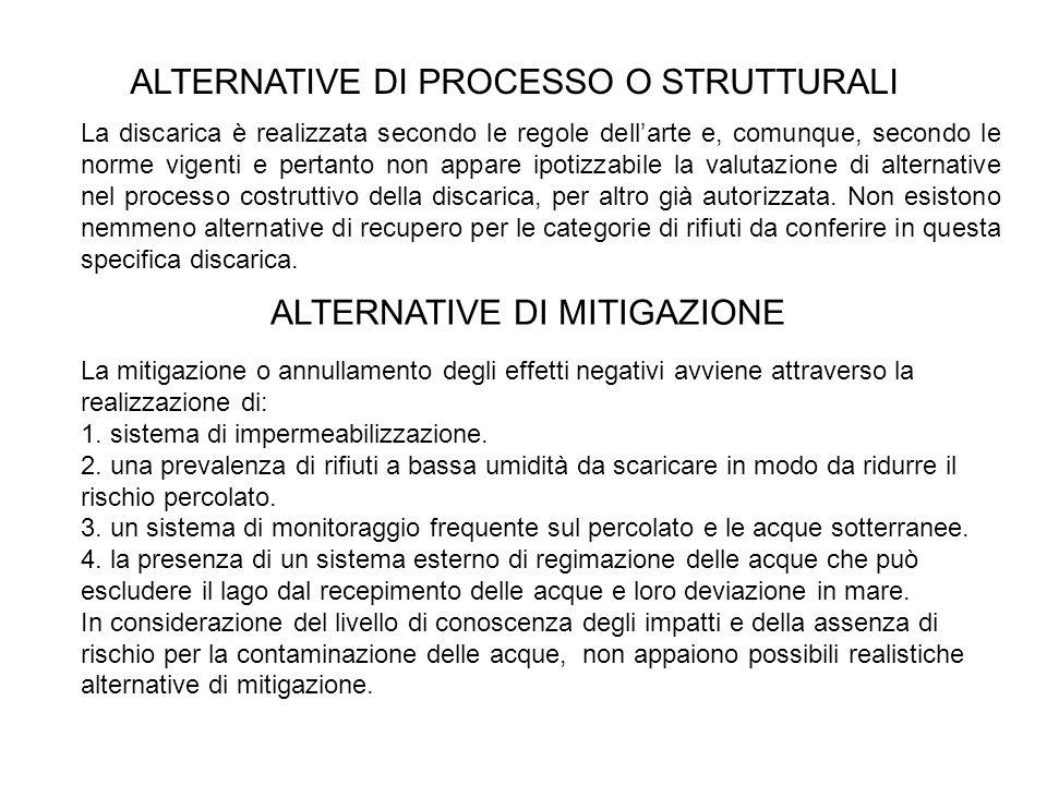 La discarica è realizzata secondo le regole dellarte e, comunque, secondo le norme vigenti e pertanto non appare ipotizzabile la valutazione di altern