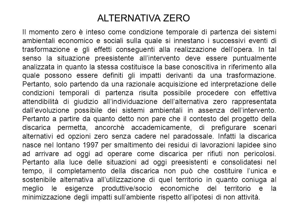 Il momento zero è inteso come condizione temporale di partenza dei sistemi ambientali economico e sociali sulla quale si innestano i successivi eventi